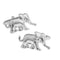 Elephant Cufflinks - 3D, Silver - SummerTies