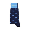 Elephant Socks - Men's Mid Calf Long - Blue on Navy - SummerTies