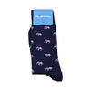 Elephant Socks - Men's Mid Calf Long - Pink on Navy - SummerTies