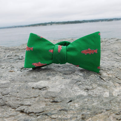 Trout Bow Tie - Green, Woven Silk - SummerTies