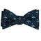 Flamingo Bow Tie - Turquoise on Navy, Woven Silk