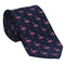 Flamingo Necktie - Pink on Navy, Woven Silk
