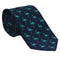 Flamingo Necktie - Turquoise on Navy, Woven Silk
