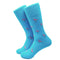 Flamingo Socks - Men's Mid Calf - Pink on Aqua Blue - SummerTies