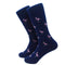 Flamingo Socks - Men's Mid Calf - Pink on Navy - SummerTies