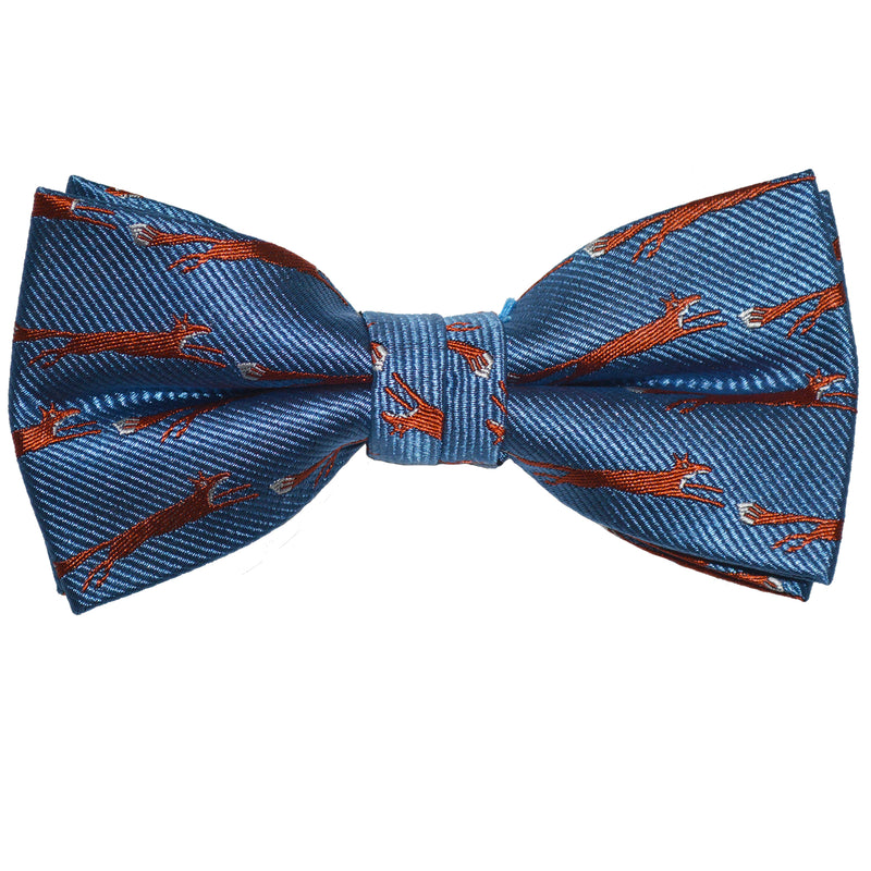 Fox Bow Tie - Blue, Woven Silk, Pre-Tied for Kids - SummerTies