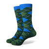 Argyle Socks - Light Green, Blue, Black - Men's Mid Calf Short - SummerTies