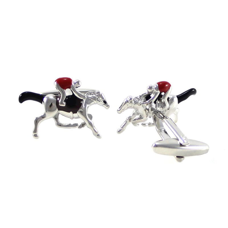 Horse and Jockey Cufflinks - 3D, Red, Black, Silver