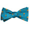 Jellyfish Bow Tie - Yellow on Sea Blue, Woven Silk - SummerTies