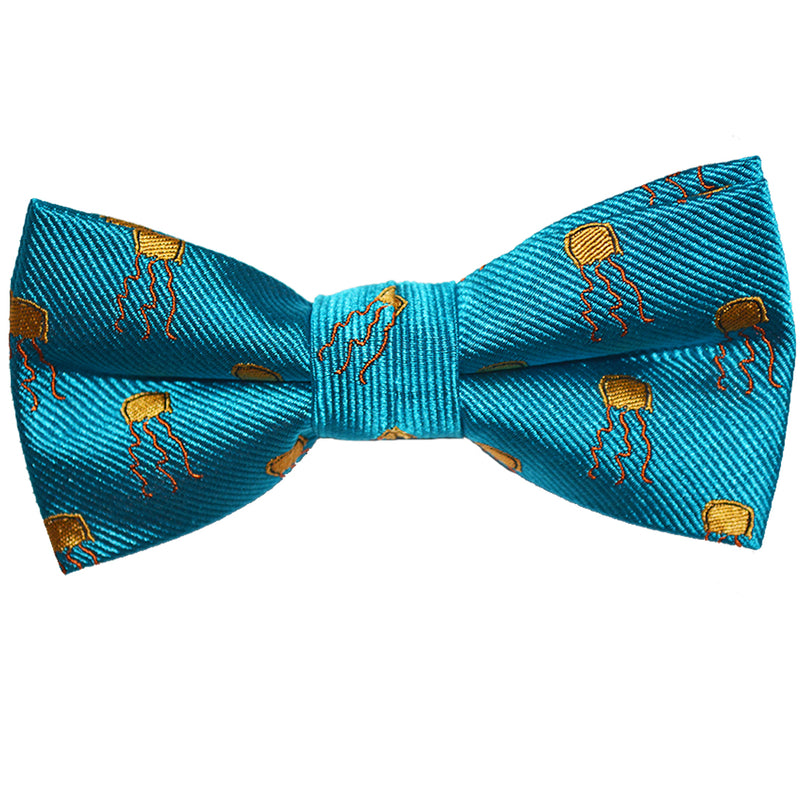 Jellyfish Bow Tie - Yellow on Sea Blue, Woven Silk, Pre-Tied for Kids - SummerTies