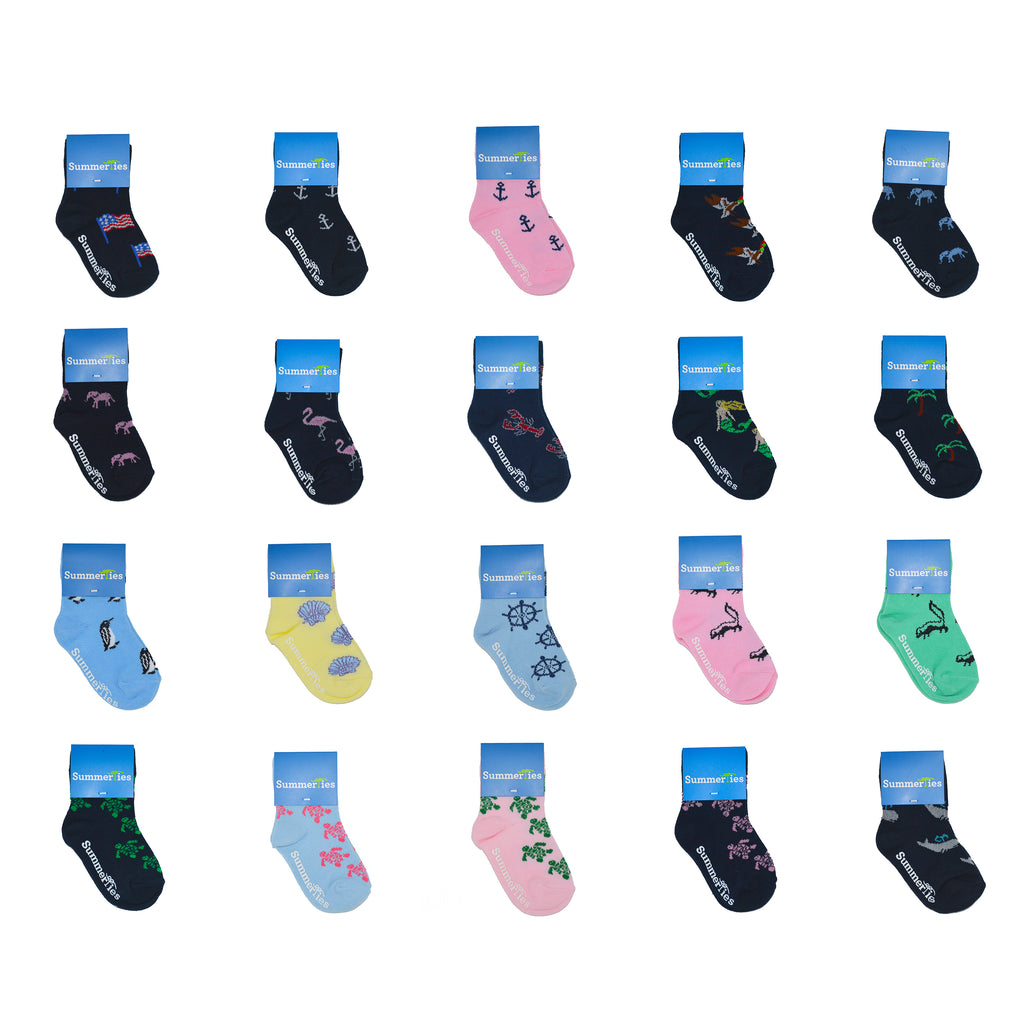 20 Pairs - Toddler Crew Socks - SummerTies