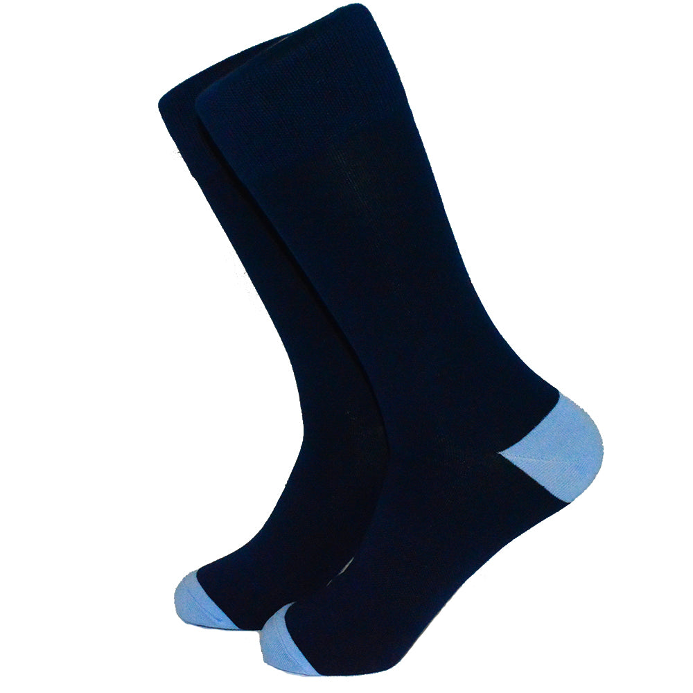 Solid Navy with Blue Toe and Heel Socks - Men's Mid Calf
