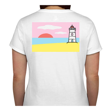 Lighthouse T-Shirt - Ladies V-Neck Short Sleeve - SummerTies