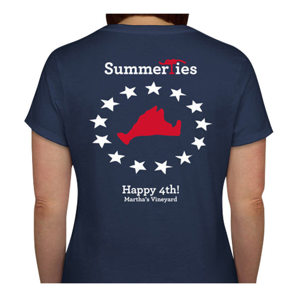 Martha's Vineyard 4th of July Ladies V-Neck T-Shirt - Short Sleeve - SummerTies