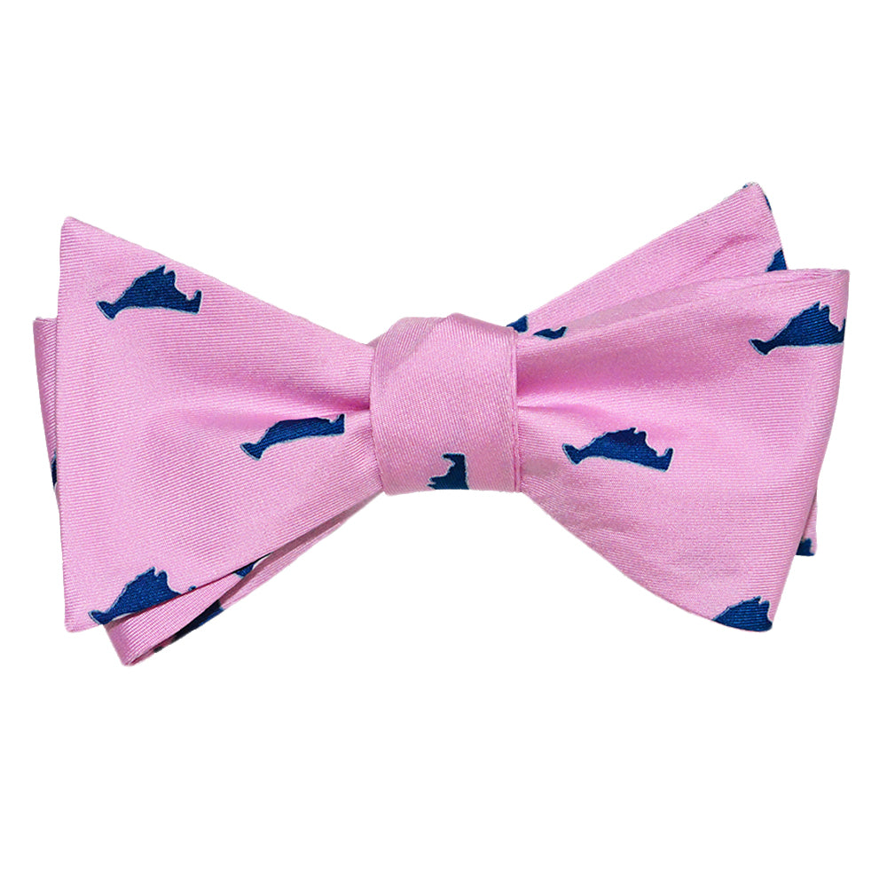 Martha's Vineyard Bow Tie Navy on Pink - Printed Silk - SummerTies