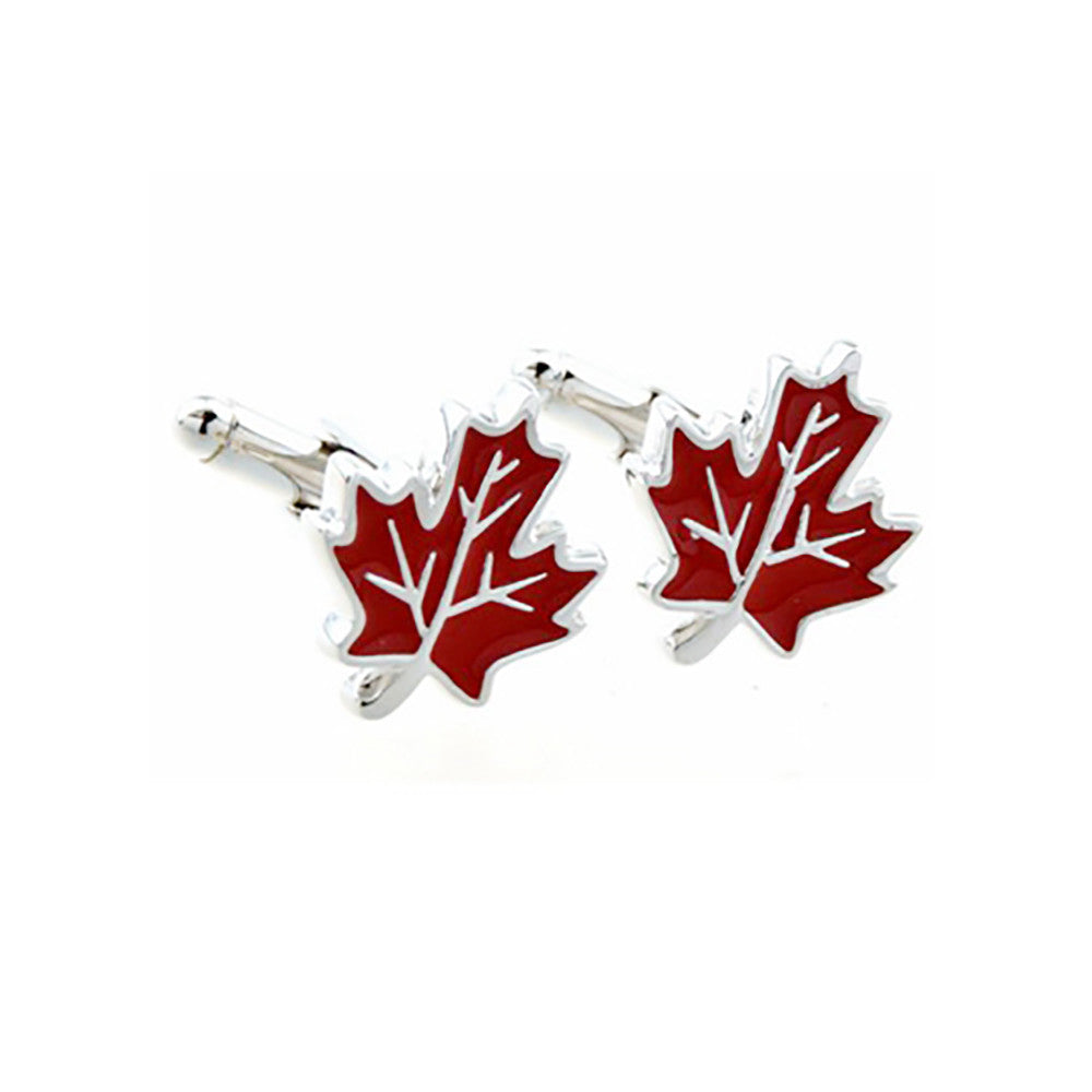 Maple Leaf Cufflinks - 3D, Red - SummerTies