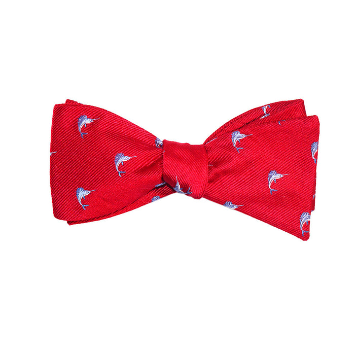 Marlin Bow Tie - Red, Woven Silk - SummerTies