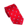 Marlin Necktie - Blue on Red, Woven Silk