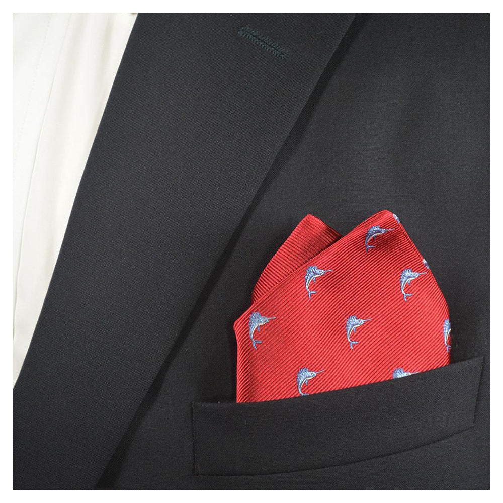 Marlin Pocket Square - Red, Woven Silk - SummerTies