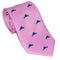 Martha's Vineyard Necktie - Navy on Pink - Woven Silk - SummerTies