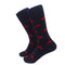 Martha's Vineyard Socks - Men's Mid Calf - Red on Navy - SummerTies