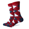 Argyle Socks - Red, Grey, Lt Blue, White - Men's Mid Calf Short