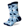 Argyle Socks - Navy, Blue, White - Men's Mid Calf Short