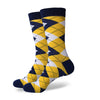Argyle Socks - Yellow, Navy, White - Men's Mid Calf Short - SummerTies