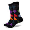 Argyle Socks - Black, Green, Purple, Red, Orange - Men's Mid Calf Short - SummerTies