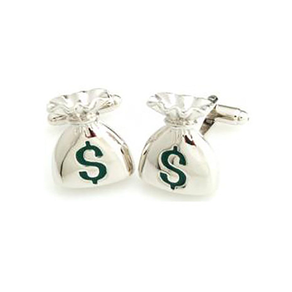 Money Bag Cufflinks - 3D, Green - SummerTies