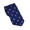 Multi Creature Necktie - Pink on Navy, Woven Silk