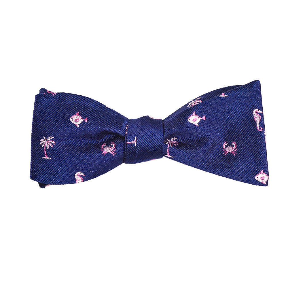 Multi Creature Bow Tie - Navy, Woven Silk - SummerTies