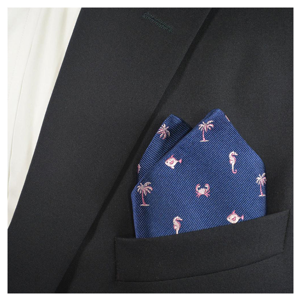 Multi Creature Pocket Square - Navy, Woven Silk - SummerTies