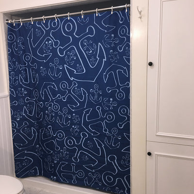 Anchor Dream Shower Curtain - Navy - SummerTies  - 2