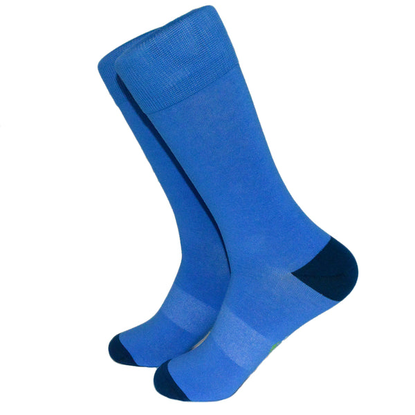 Solid Blue with Navy Toe and Heel Socks - Men's Mid Calf - SummerTies
