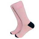 Solid Pink with Navy Toe and Heel Socks - Men's Mid Calf - SummerTies
