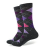 Argyle Socks - Dark Grey, Pink, Purple - Men's Mid Calf Short - SummerTies
