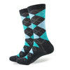 Argyle Socks - Dark Grey, Aqua, Lt Blue - Men's Mid Calf Short - SummerTies