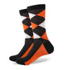 Argyle Socks - Black, Orange, White - Men's Mid Calf Short - SummerTies