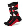 Argyle Socks - Black, Red, White - Men's Mid Calf Short - SummerTies