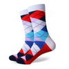 Argyle Socks - White, Red, Blue, Light Blue - Men's Mid Calf Short - SummerTies