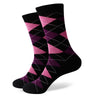 Argyle Socks - Black, Pink, Purple - Men's Mid Calf Short