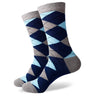 Argyle Socks - Grey, Navy, Blue - Men's Mid Calf Short