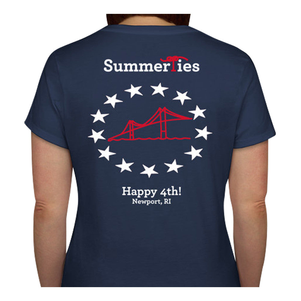 Newport Bridge 4th of July T-Shirt - Ladies V-Neck Short Sleeve - SummerTies