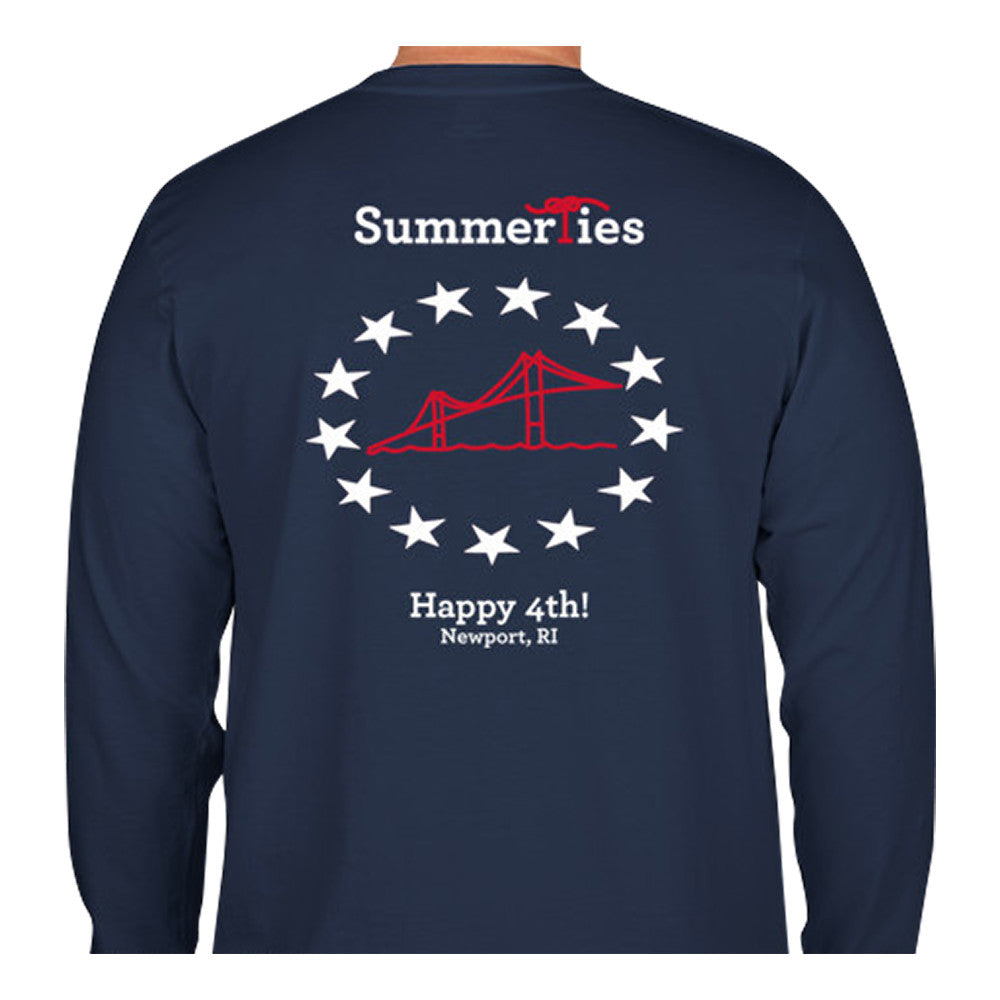 Newport Bridge 4th of July T-Shirt - Long Sleeve - SummerTies
