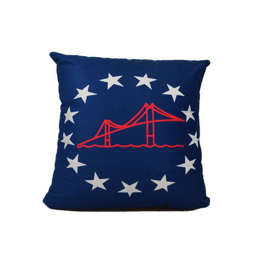 "Newport Bridge 4th of July Pillow 16"" x 16"" - Faux Suede - SummerTies"