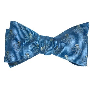Octopus Bow Tie - Blue, Woven Silk
