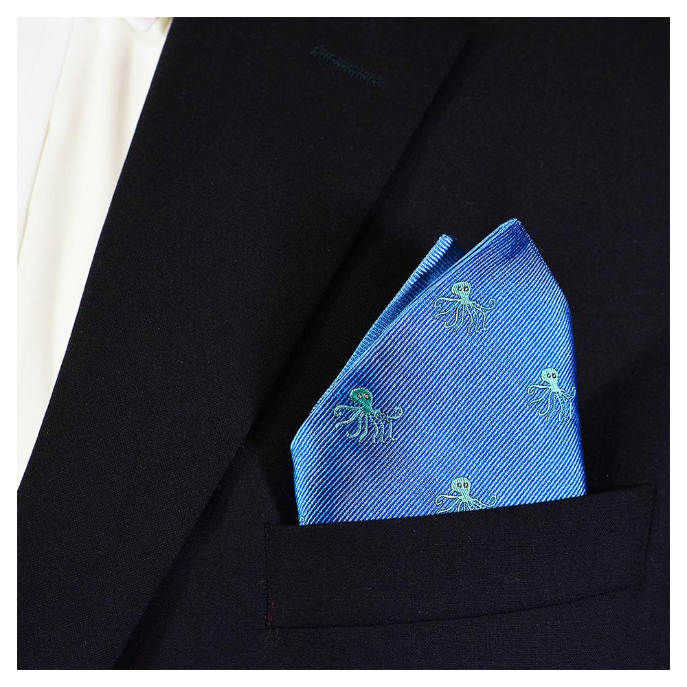 Octopus Pocket Square - Woven, Blue - SummerTies