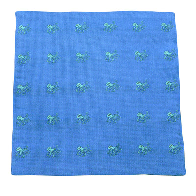 Octopus Pocket Square - Woven, Blue - SummerTies  - 2