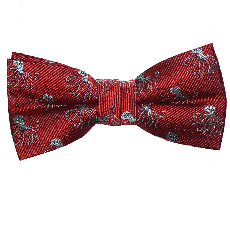 Octopus Bow Tie - Red, Woven Silk, Pre-Tied for Kids - SummerTies